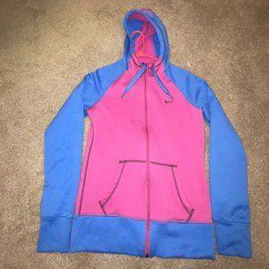 Nike Pink Blue Thermafit Full Zip Sweatshirt Small